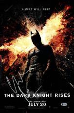 Christian Bale signed 12x18 Batman The Dark Knight Rises Movie Poster- Beckett Holo #C44269