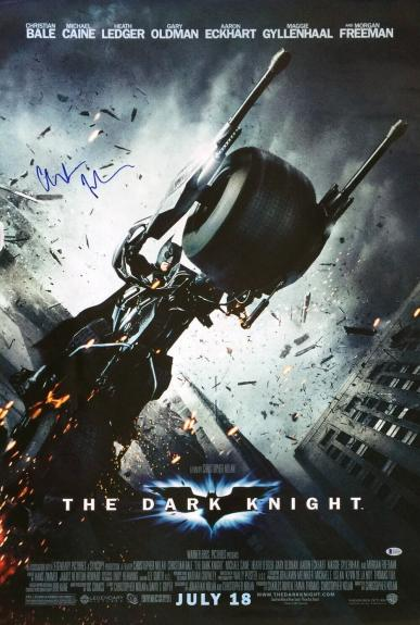 Christian Bale Signed 27x40 Dark Knight Full Movie Poster BAS E36329
