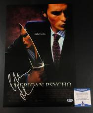 Christian Bale Signed American Psycho 12x18 Poster Authentic Autograph Bas Coa