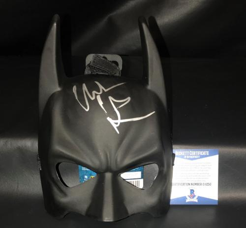 Bruce Wayne Christian Bale Signed Auto Batman Mask Bas Beckett Coa Dark Knight