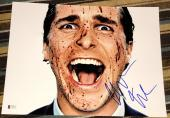 CHRISTIAN BALE SIGNED AUTOGRAPH AMERICAN PSYCHO BLOODY FACE 11x14 PHOTO BECKETT