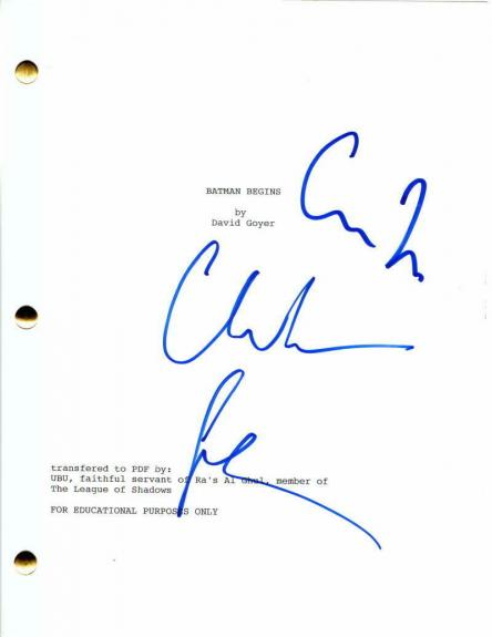 Christian Bale Signed Autograph - Batman Begins Movie Script - The Dark Knight