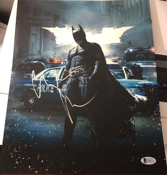 CHRISTIAN BALE SIGNED AUTOGRAPH DARK KNIGHT BATMAN POSTER 11x14 PHOTO BECKETT B