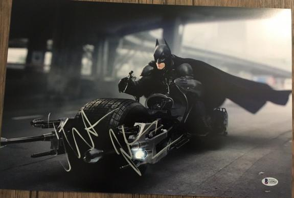 CHRISTIAN BALE SIGNED AUTOGRAPH DARK KNIGHT CLASSIC ACTION 12x18 PHOTO BAS COA A