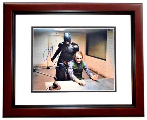 Christian Bale Signed - Autographed Batman - The Dark Knight 11x14 inch Photo MAHOGANY CUSTOM FRAME - Guaranteed to pass PSA or JSA - Bruce Wayne and The Joker Heath Ledger - Pictured