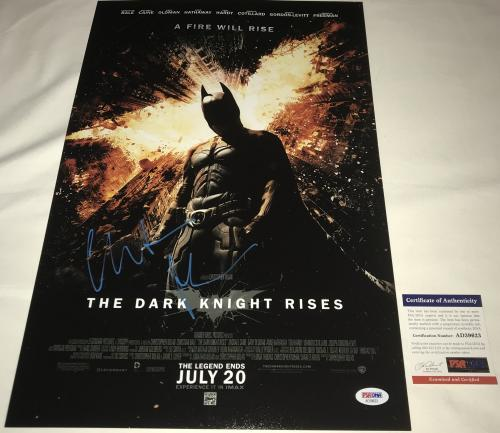 Christian Bale Signed   Autographed Batman The Dark Knight Rises 12 x 18 Movie Poster - Blue - PSA DNA Certified