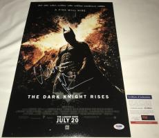 Christian Bale Signed   Autographed Batman The Dark Knight Rises 12 x 18 Movie Poster - Silver - PSA DNA Certified