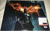 Christian Bale Signed   Autographed The Dark Knight 11 x 14 Photo Batman Logo - PSA DNA Certified