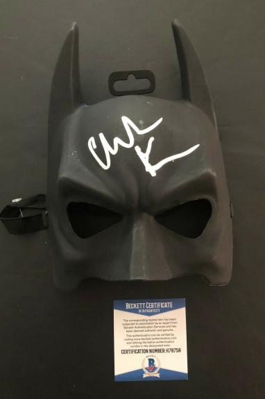 Christian Bale Signed Autographed The Dark Knight Batman Mask Bas Beckett Coa 39