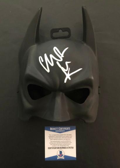 Christian Bale Signed Autographed The Dark Knight Batman Mask Bas Beckett Coa 40