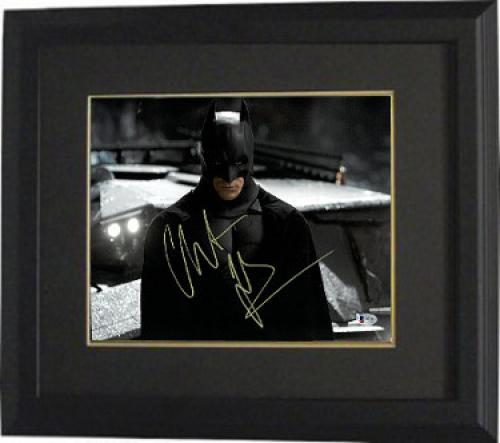 Christian Bale signed Batman 11X14 Photo Custom Framed (Horizontal Full Yellow Sig)- Beckett Holo #C88843