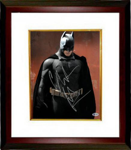 Christian Bale signed Batman 11X14 Photo Custom Framed (Vertical Full Silver Sig- Red Background)- Beckett Holo #C88729