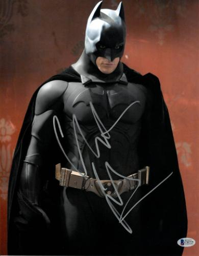 Christian Bale signed Batman 11X14 Photo (Vertical Full Silver Sig- Red Background)- Beckett Holo #C88729