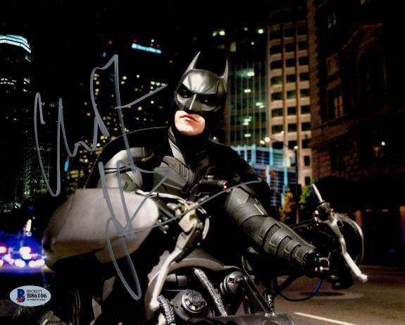 Christian Bale Signed Batman 8 x 10 Photo Batcycle Looking Up Beckett BAS COA
