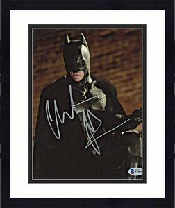 Christian Bale Signed Batman 8 x 10 Photo Holding Railing Beckett Sticker Only