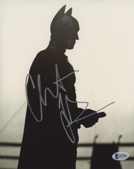 Christian Bale Signed Batman 8 x 10 Photo In The Shadows Beckett BAS COA
