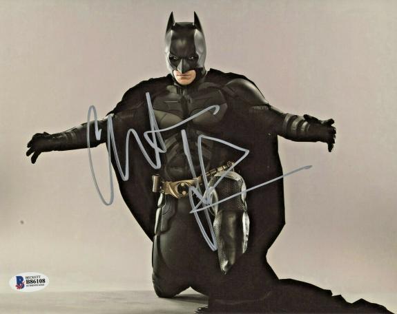 Christian Bale Signed Batman 8 x 10 Photo Kneeling Beckett BAS COA