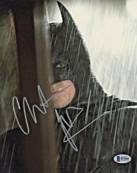 Christian Bale Signed Batman 8 x 10 Photo Looking In Rain Beckett BAS COA