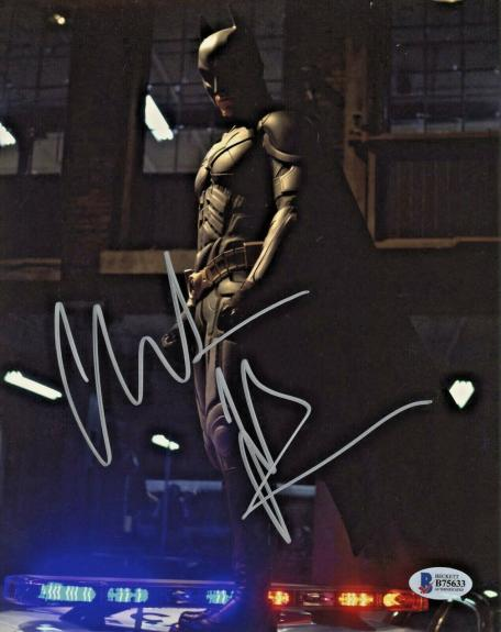 Christian Bale Signed Batman 8 x 10 Photo On Police Car Beckett BAS COA
