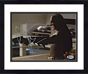 Christian Bale Signed Batman 8 x 10 Photo Pointing Gun Beckett BAS COA