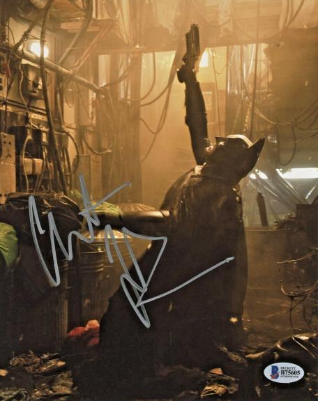 Christian Bale Signed Batman 8 x 10 Photo Shooting Up Beckett BAS COA