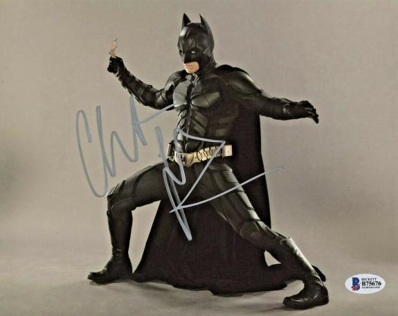 Christian Bale Signed Batman 8 x 10 Photo Throwing Batstar Beckett BAS COA