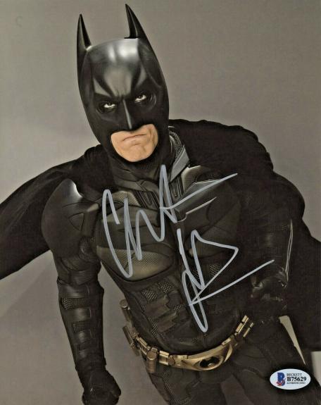 Christian Bale Signed Batman 8 x 10 Photo Up Look Beckett BAS COA