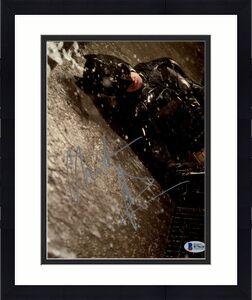 Christian Bale Signed Batman 8x10 Photo Against Wall In Rain Beckett BAS COA