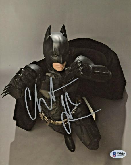 Christian Bale Signed Batman 8x10 Photo Fists Up Top View Beckett BAS COA