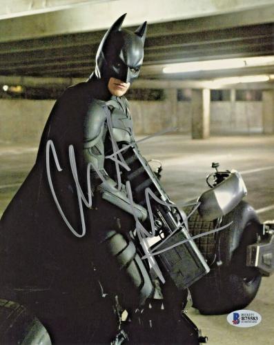 Christian Bale Signed Batman 8x10 Photo Holding Gun Beckett BAS Sticker Only
