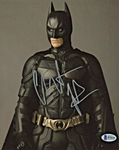 Christian Bale Signed Batman 8x10 Photo Looking Away Beckett BAS Sticker Only