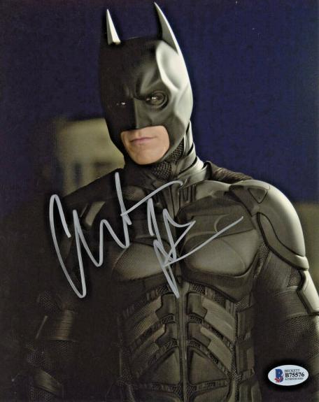 Christian Bale Signed Batman 8x10 Photo Looking to Side Beckett BAS COA