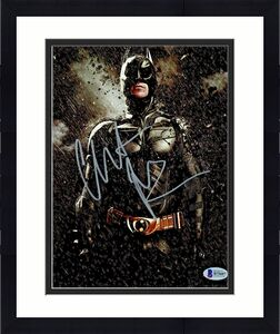 Christian Bale Signed Batman 8x10 Photo Rain and Rocks Beckett BAS COA