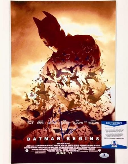 CHRISTIAN BALE Signed BATMAN BEGINS 11x17 Movie Poster Photo BAS COA Beckett
