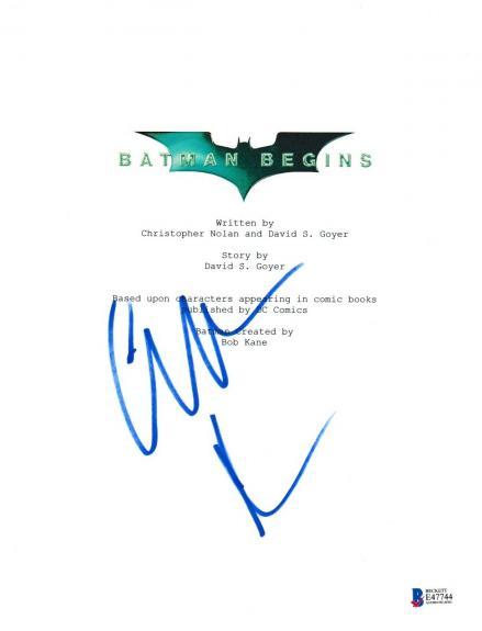 Christian Bale Signed Batman Begins Script Beckett Bas Autograph Auto