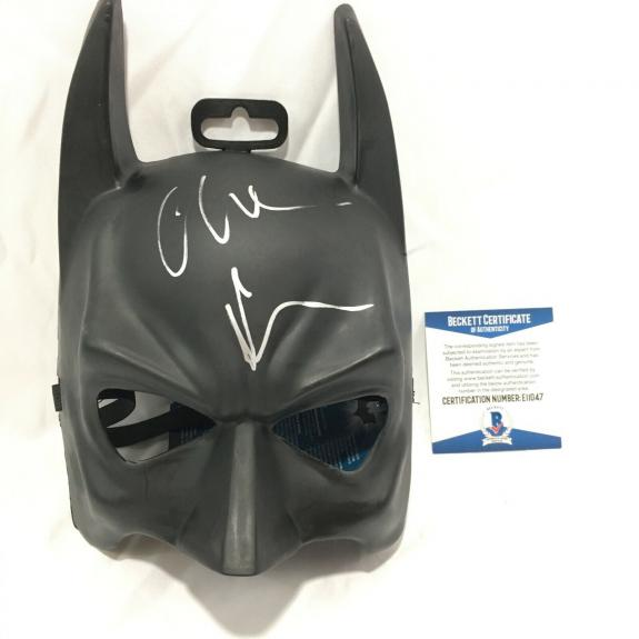 Christian Bale Signed Batman Mask BAS Coa