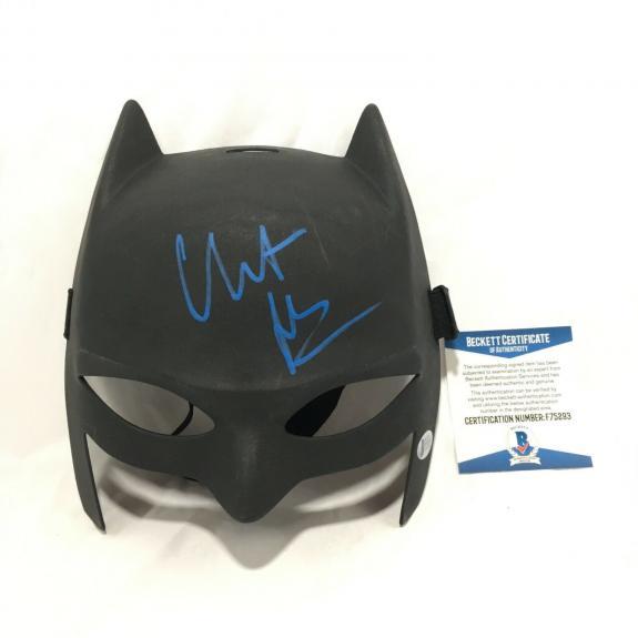 Christian Bale Signed Batman Mask BAS Coa