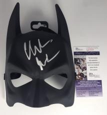 CHRISTIAN BALE signed BATMAN MASK The Dark Knight Trilogy Rises Cowl Prop JSA