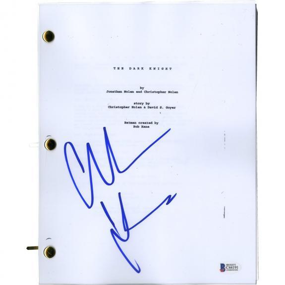Christian Bale Signed Batman Script Beckett