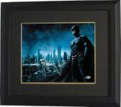 Christian Bale signed Batman The Dark Knight 11X14 Photo Custom Framed (Horizontal Silver Sig)- Beckett Holo #C44227