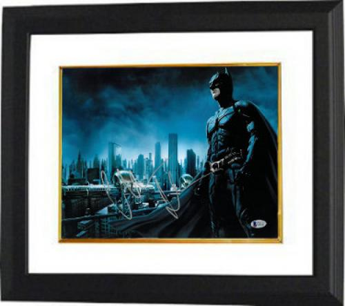 Christian Bale signed Batman The Dark Knight 11X14 Photo Custom Framed (Horizontal Silver Sig)- Beckett Holo #C44227