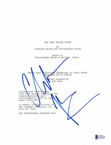 Christian Bale Signed 'dark Knight Rises ' Full Script Screenplay Authentic Bas
