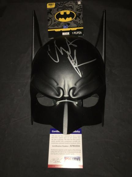Christian Bale Signed Official Batman Funko Mask The Dark Knight PSA/DNA #4