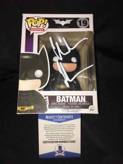 Christian Bale Signed Official Batman Funko Pop Dark Knight Trilogy Beckett