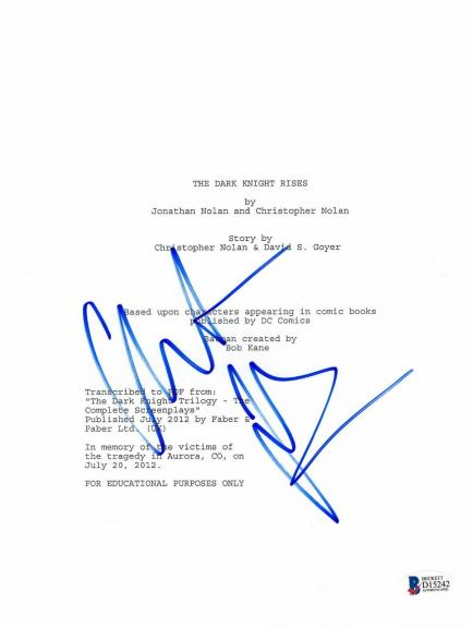 Christian Bale Signed The Dark Knight Rises 'batman' Movie Script Beckett Bas 4