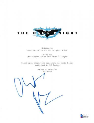 Christian Bale Signed The Dark Knight Script Beckett Bas Autograph Auto