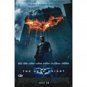 """Christian Bale The Dark Knight Autographed 12"""" x 18"""" Movie Poster Signed in Blue - BAS"""