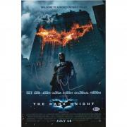 """Christian Bale The Dark Knight Autographed 12"""" x 18"""" Movie Poster Signed in Silver - BAS"""