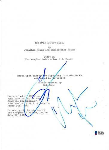 Christian Bale Tom Hardy Signed The Dark Knight Rises Full Movie Script Beckett