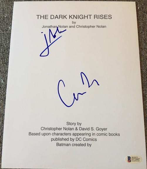 """Christopher Jonathan Nolan Signed Autograph """"dark Knight Rises"""" Script Beckett"""